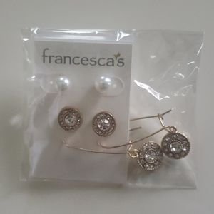Set of 3 earrings - pearl and diamond